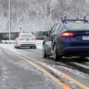 Ford, auotonome auto, zelfrijdende auto, sneeuw