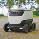Starship, robotauto, pakketbezorging, drone over de weg